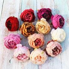 5 pçs/lote 10cm artificial peônia chá rosa cabeças de seda falso flores para festa de casamento casa decoração diy grinalda guirlanda