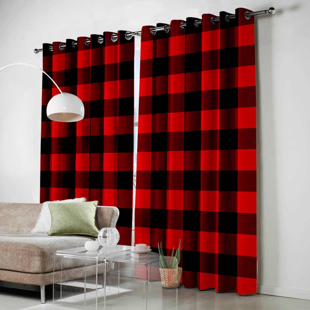traitement a carreaux geometriques rouge et noir pour fenetre cantonniere pour fenetre de chambre a coucher rideaux de cuisine