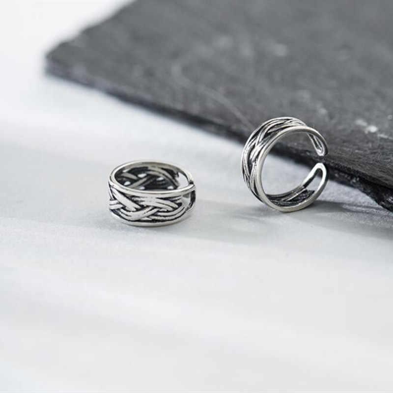 100% 925 stałe prawdziwe Sterling Thai srebra spinki do mankietów na kolczyki dla kobiet dziewczyna bez Piercing kolczyki biżuteria