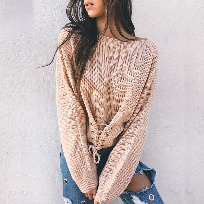 Lace Up Crop Casual Women Sweater 2019 Autumn Winter Knitted Pullovers Long Sleeve O Neck Loose Jumper Top Bandage Sweater