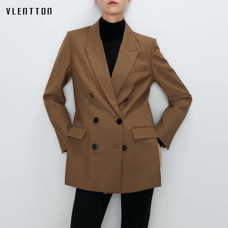 Autumn Winter Vintage Long Blazer Jacket Women Chic Double Breasted Elegant Office Ladies Blazers Coat Female Outwear Tops Mujer