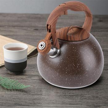 3L antyczne gotowany czajnik czajnik wodny ze stali nierdzewnej z drewnianym uchwytem płaska podeszwa czajnik z gwizdkiem wrzącej czajnik do herbaty tanie i dobre opinie ROSENICE STAINLESS STEEL Ekologiczne Na stanie Water Kettles steaming teapot steaming tea pot high temperature resistant teapot