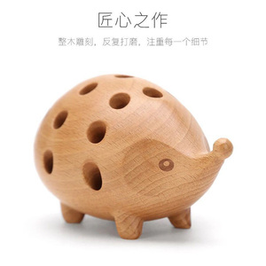 Image 5 - Nordic Arts and Crafts Studio Decoration Childrens Penholder Solid Wood Carving Hedgehog Decoration Small Gift
