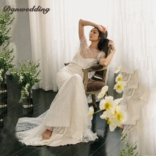 Hot Sale Mermaid Wedding Dress Scalloped Neck Short Sleeve Refinement Lace Bridal Dress Sexy Backless Boho Wedding Gowns(China)