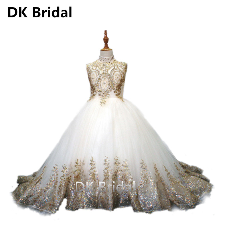 Sweet Gold Lace Long Flower Girl Dresses For Wedding Beaded Ball Gown Girls First Communion Gowns Special Occasion Dresses
