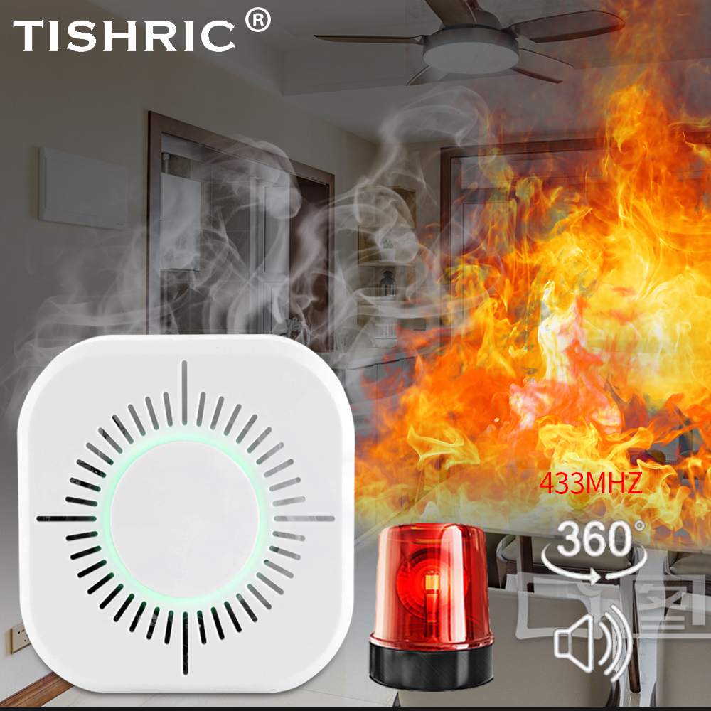 TISHRIC 433Mhz Wireless Smoke Detector Fire Alarm Sensor Smart Wifi Smoke Sensor Compatible With Sonoff RF Bridge
