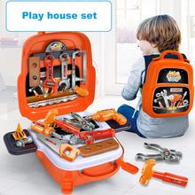 22Pcs/set Plastic Toolbox Engineer Simulation Repair Drill Tools Bags Toys Pretend Play Early Educational Play House Kit For Boy