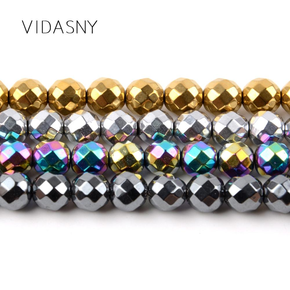 Natural Mineral Gem Faceted Gold Hematite Stone Beads For Jewelry Making 3mm 10mm Spacer Beads Diy Bracelet Accessories 15 39 39 in Beads from Jewelry amp Accessories