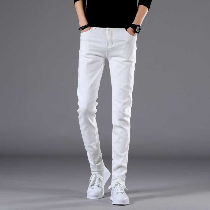TANGYAXUAN 2019 New Men Stretch Skinny Jeans Fashion Casual Slim Fit Denim Trousers White Pants Male Brand Clothes Size 27-36