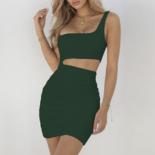 2019 Summer New Style Europe and The United States Shoulder Women Sexy Dress Tight Dress  Sexy Nightclub Bag Hip  Dress Summer hot sale europe and the united states 2019 spring and summer woman s gown big pendulum style loose casual women s dress