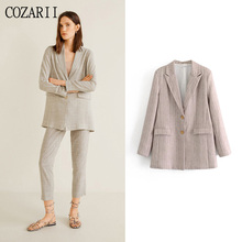 COZARII blazer mujer 2019 women striped notched collar pockets full sleeve single breasted casual style women blazers