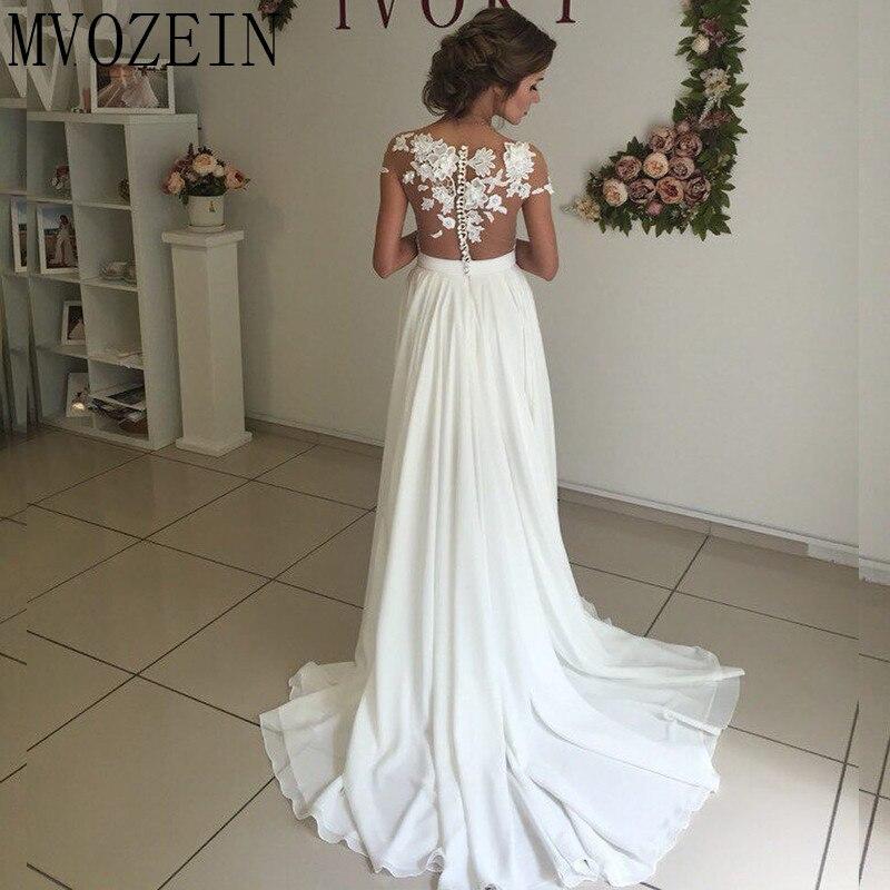 Boho Weiß Hochzeit Kleider Chiffon A linie Cap Sleeves Spitze Brautkleider Hohe Split Hochzeit Kleid vestido de noiva - 6