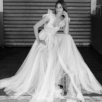Verngo A Line Wedding Dress Lace Appliques Weeding Dress Boho Backless Wedding Gowns Elegant Bride Dress Vestido De Noiva simple v neck boho wedding dresses 2019 ivory lace appliques elegant bridal gowns backless cap sleeves tulle vestido de noiva