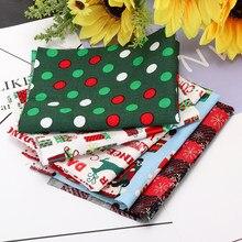 5 pçs série de natal tecido de algodão floral diy costura pano de algodão tecido acolchoado bordado retalhos para decoração de pano de natal