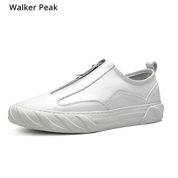 Brand Sneakers 100% Genuine Leather Mens Casual Shoes Slip on Breathable Soft Autumn Flats Shoes Zip Style Fashion Walker peak