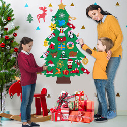 DIY Felt Christmas Tree for Kids Christmas Tree Game with 31Pcs Ornaments Xmas Gift Christmas Decoration for Home New Year