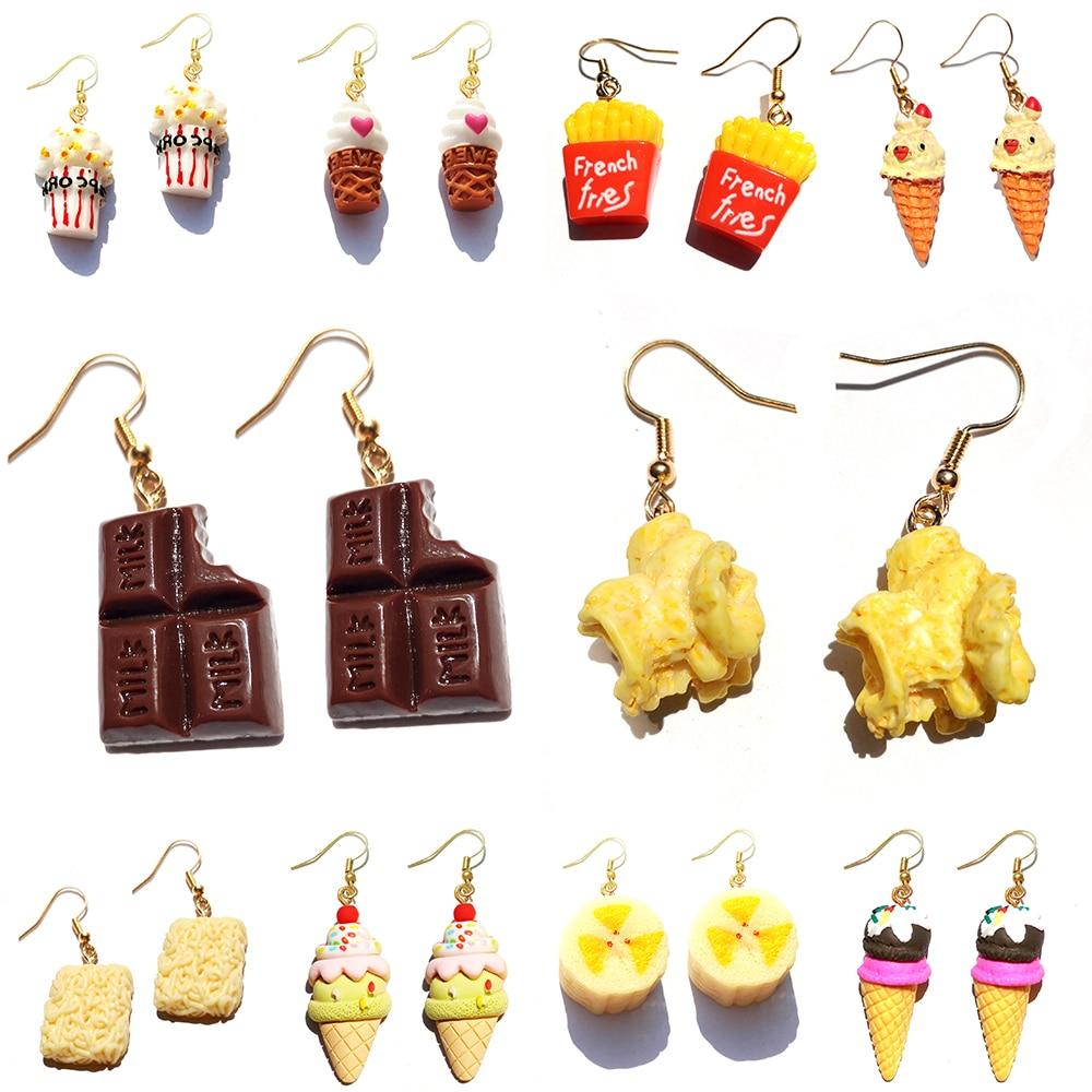 Earring For Women Resin Drop Custom Made Handmade Cute Girls Gift Eardrop Eardrop Popcorn Chocolate Fries Ice Cream