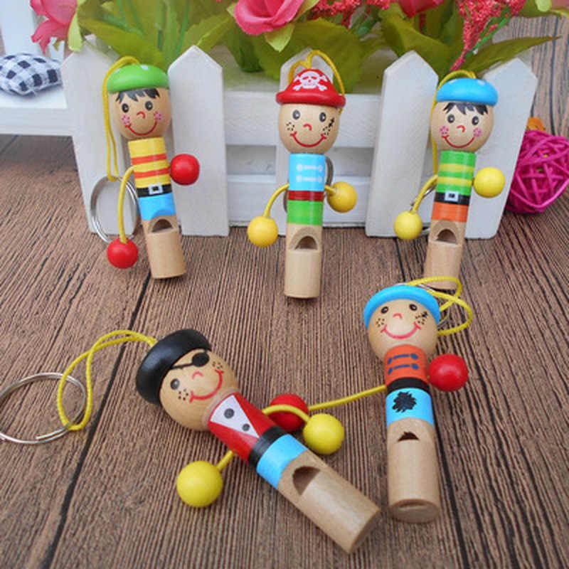 Crianças bebê De Madeira Mini Toy Apito Pirates Brinquedos Developmental Toy Musical Colorido Keychain Lindo Presente de Brinquedos do Instrumento Musical