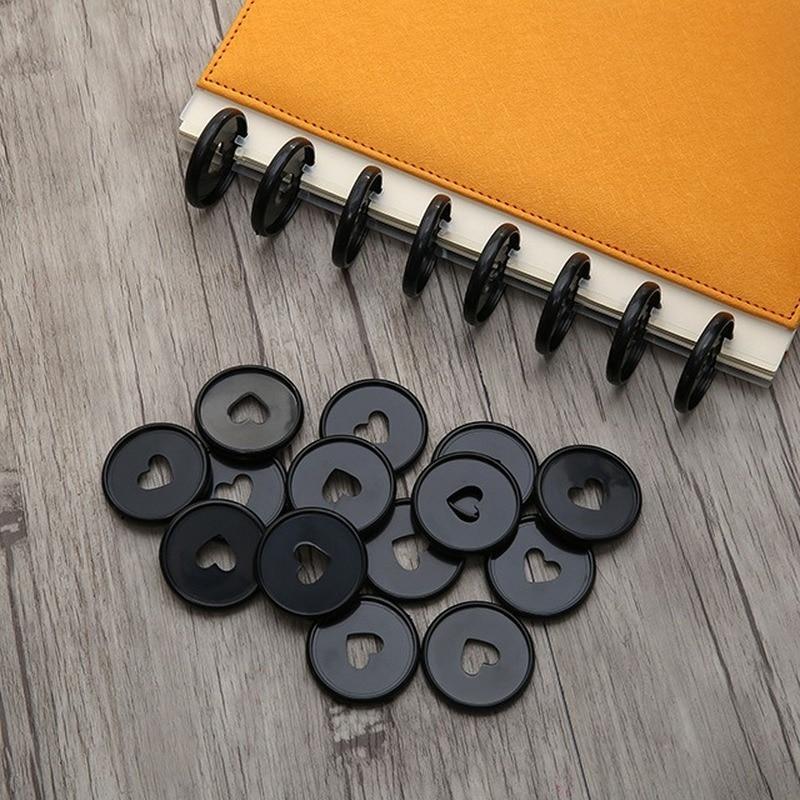 30PCS 35mm Colorful Heart Binder Buckle Disc Ring Mushroom Hole Ring Round Binding Plastic Disc Buckle Hoop DIY Binder Notebook
