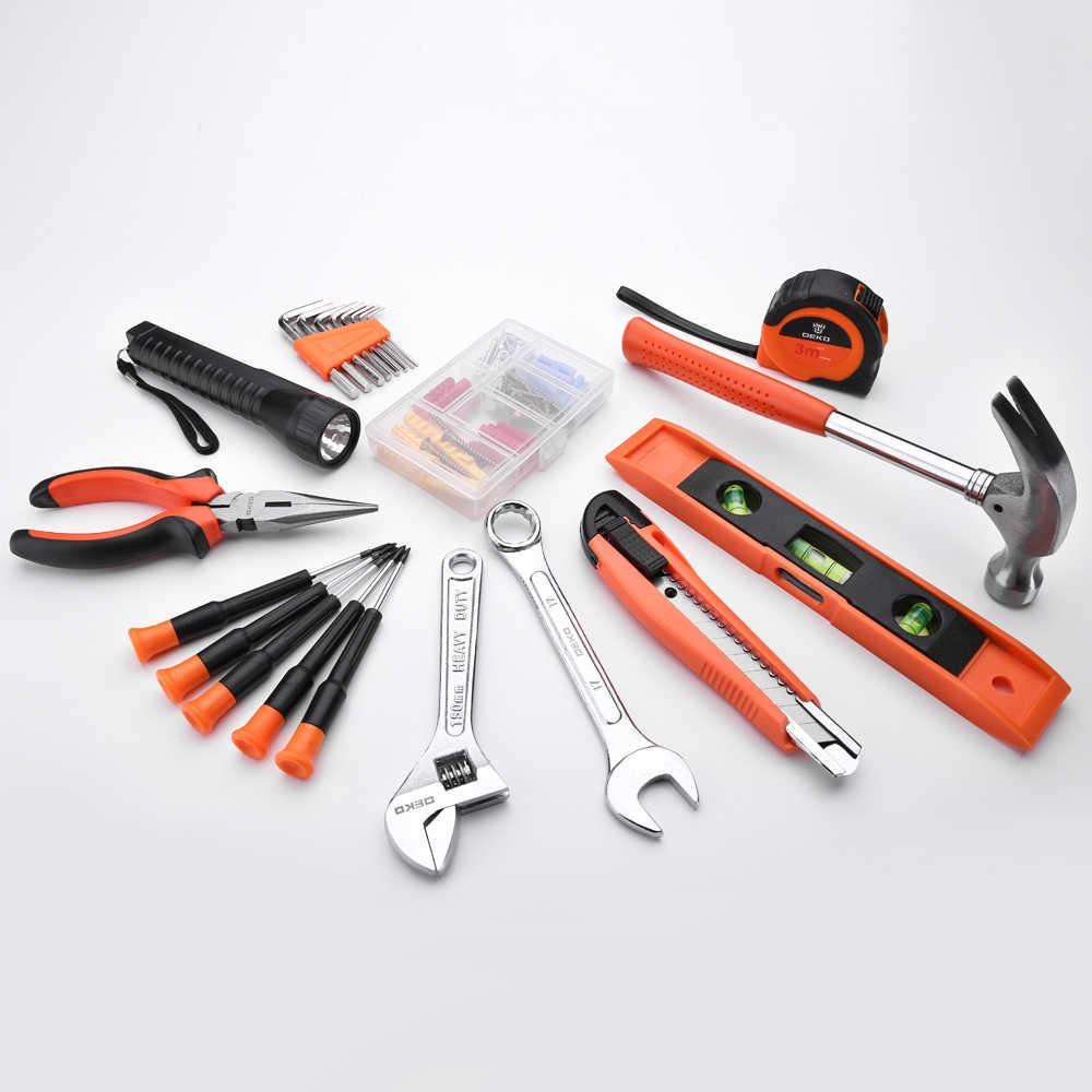 DEKO 208 шт Профессиональный набор инструментов для ремонта автомобиля Авто трещотка гаечный ключ Отвертка Гнездо механические инструменты набор W/Выдувная коробка