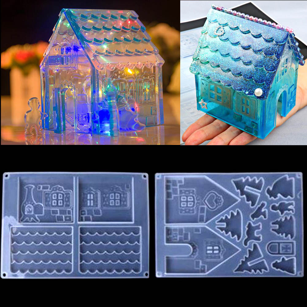 DIY Crystal Epoxy Resin Mold Creative Christmas House Mold Diy Handmade Jewelry Making Tools Silicone Mold For Resin