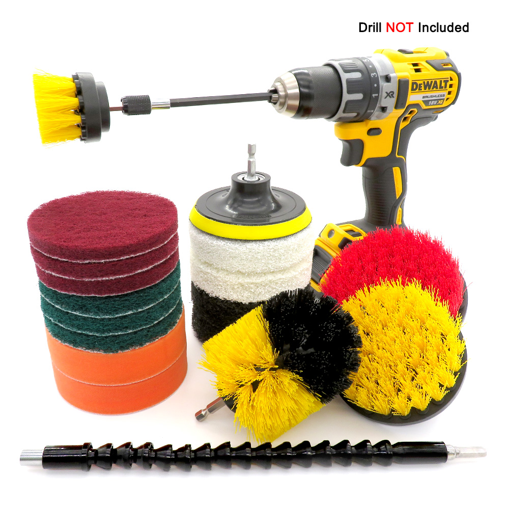 19Pcs Nylon Drill Brush Set For sofa kitchen bathroom Scrubber Brush Scouring and Scrub Pads All Purpose Cleaner