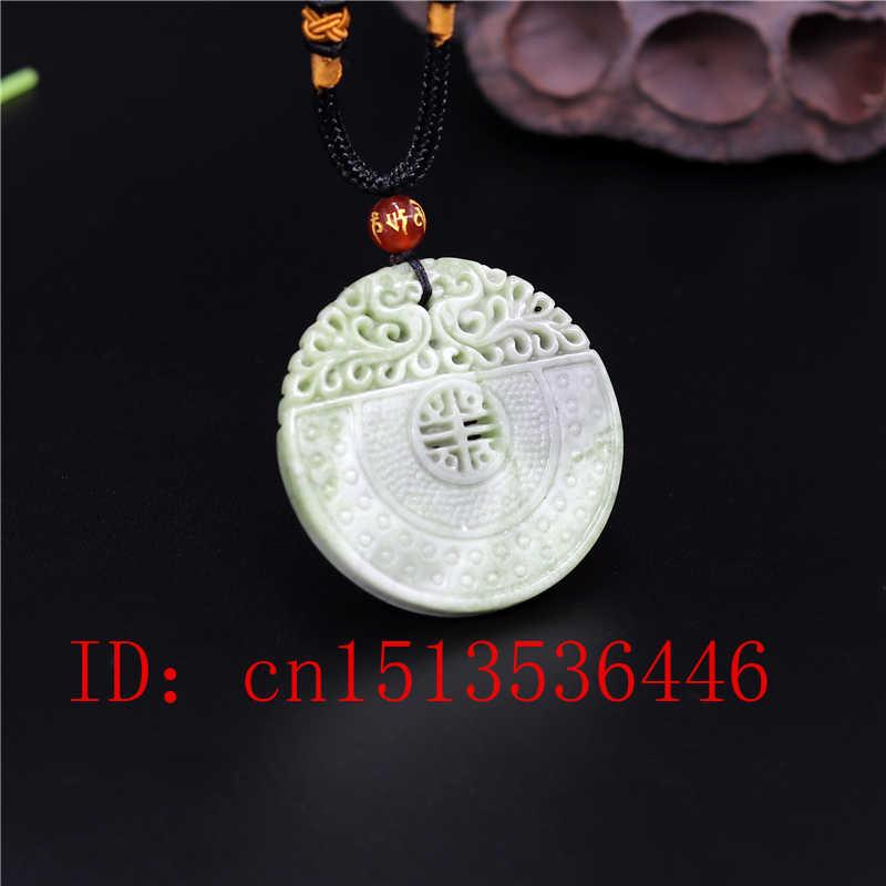 Cina Alami Dragon Phoenix Liontin Giok Putih Hijau Kalung Pesona Perhiasan Fashion Dua Sisi Ukiran Pria Wanita Jimat