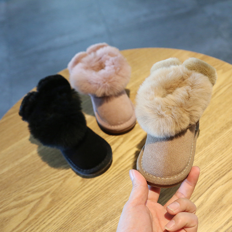 2019 Winter Baby Toddler Shoes Soft Bottom 2 Years Old Girls Princess Shoes Snow Boots Genuine Leather Snow Boots Baby Moccasins