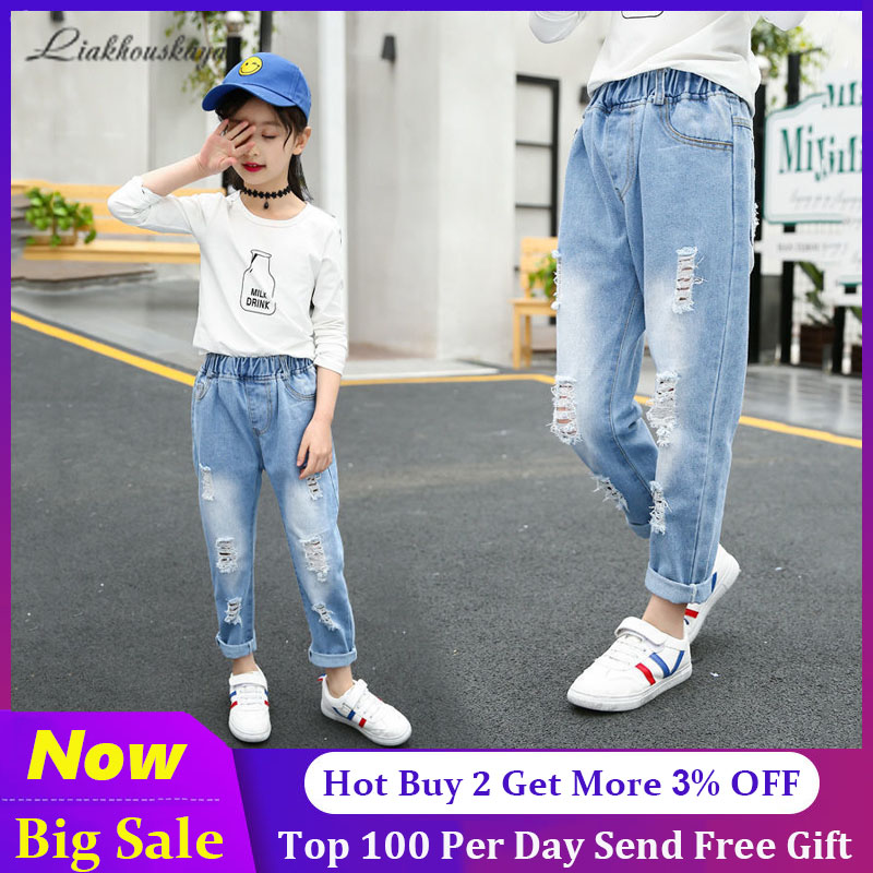 2020 Spring Kids Jeans Broken Hole Kids Jeans For Girl Spring Summer Jeans For Girls Casual Loose Ripped Children Girls Denim