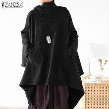 ZANZEA-sudaderas de otoño para mujer, Tops asimétricos con estilo, sudaderas con capucha de manga larga informales, Túnica de talla grande 5XL