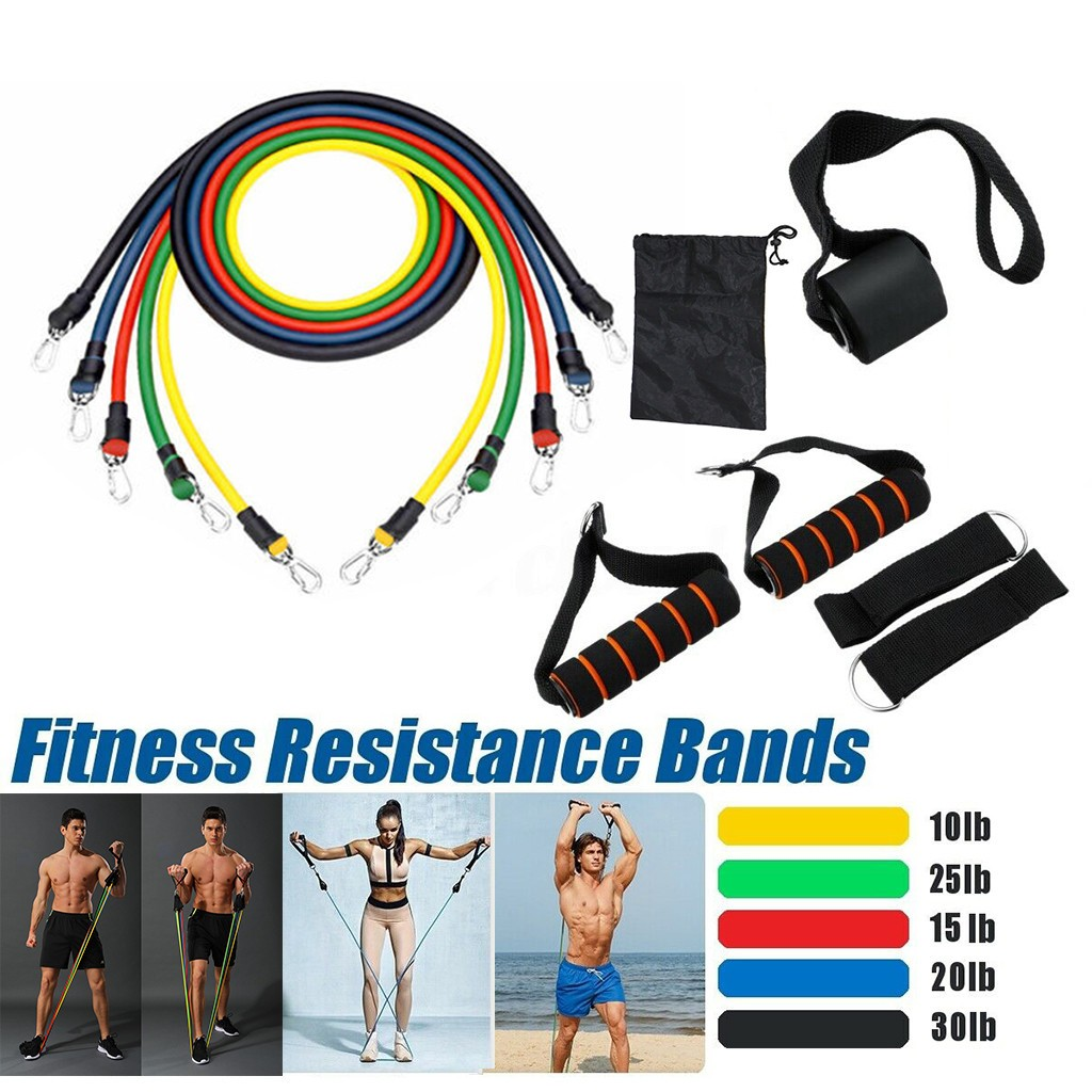 Fitness Resistance Tube Band Yoga Gym Stretch Pull Rope 11pcs/set Exercise Training Expander Door Anchor With Handle Ankle Sport