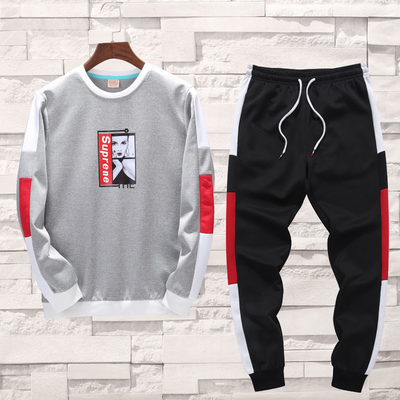 New Products Men Spring And Autumn Self-Made Sports Leisure Suit Long-sleeved Sweater Men'S Wear Baseball Uniform-Style Sports C