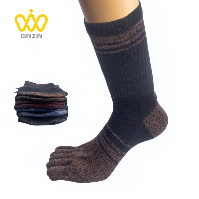 Brand Men Spring Autumn Long Tube Socks Thickened Cotton Five Toes Socks Male Sweat-absorbent Five-toe Socks Breathable BOC300