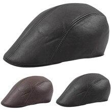 Винтажные мужские кожаные плоские плющи шапки газетчик Гэтсби капот таксистка Байкер берет шляпа защита теплые шапки# P3