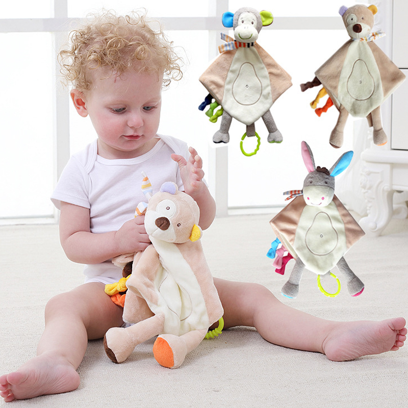 Baby Toys  Comforter Handkerchief Soothing Towel  Security Blankets With Teether For  Sensory Development WJ586