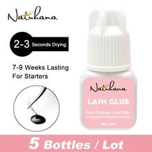 NATUHAHA Wholesale 5bottles 5ml 2-3 Seconds Fast Drying Eyelashes Glue Low Smell Long Lasting Time Eyelash Extension