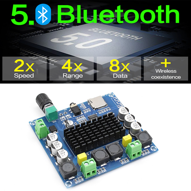 KYYSLB DC12 30V 100W 2 0 TDA7498 5 0 Bluetooth Amplifier Board XH A105 Digital Amplifier