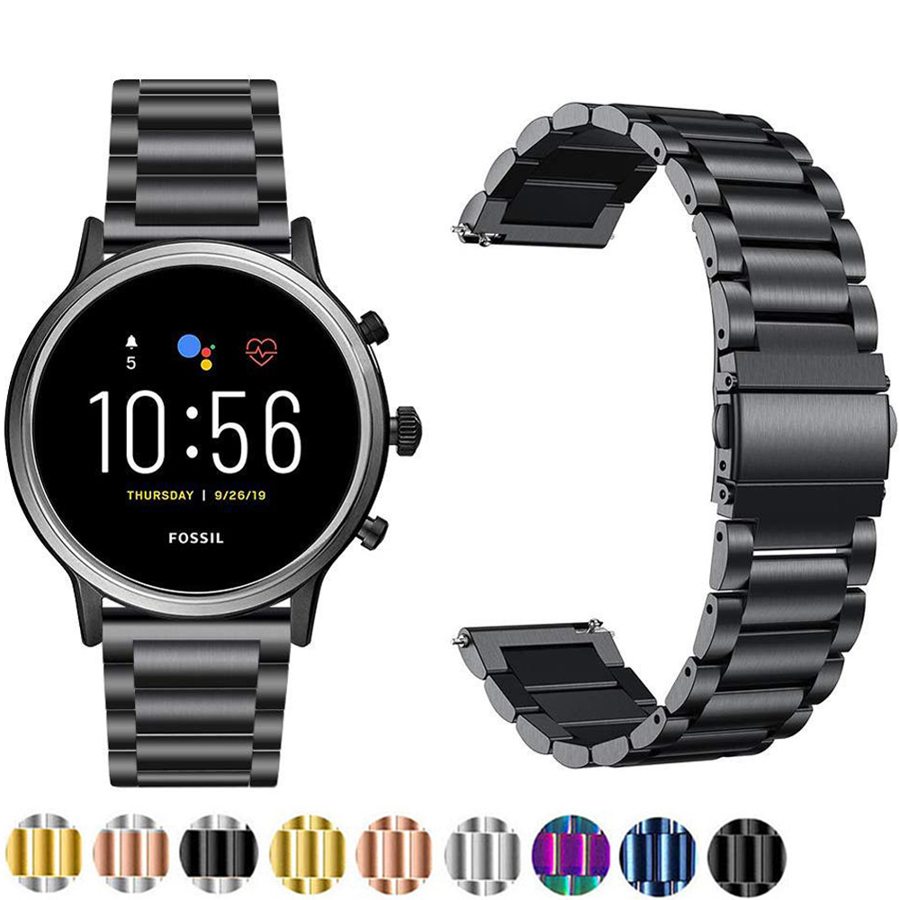 Stainless Steel Strap For Fossil Gen 5 Carlyle Julianna Smart Watch Band Quick Release Straps For Q Explorist HR Gen 4 3 Correa