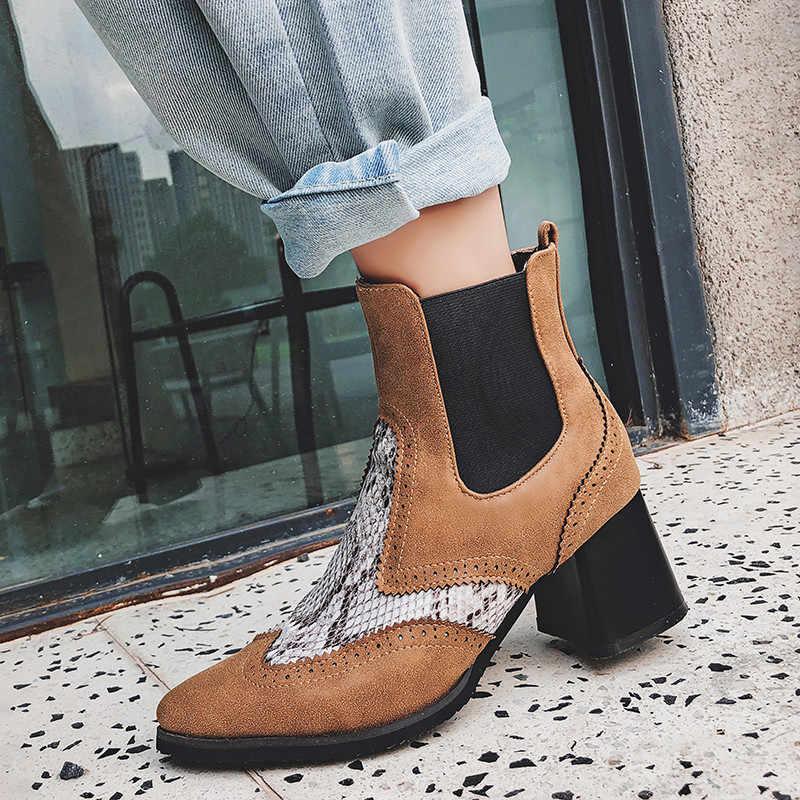 FEDONAS Yeni Brogue kısa çizmeler Kadın Deri yarım çizmeler parti ayakkabıları Kadın Yüksek Topuklu Kış sıcak Artı Boyutu Chelsea Çizmeler