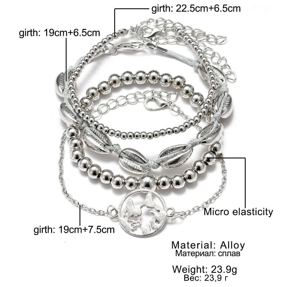 Boho bransoletka słoń serce powłoki gwiazda księżyc łuk mapie bransoletka z kryształkami kobiety Charm Party biżuteria ślubna akcesoria