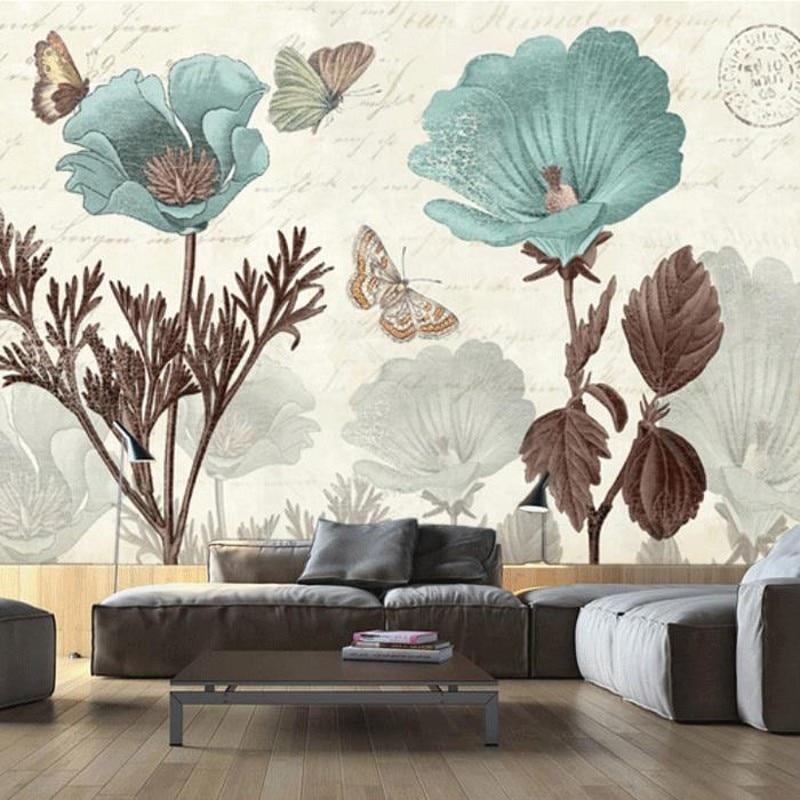 Dropship Custom Size Photo Custom Wall Painting Wallpaper Bedroom TV Background Flower Tulip Retro Nostalgia Wallpaper Mural