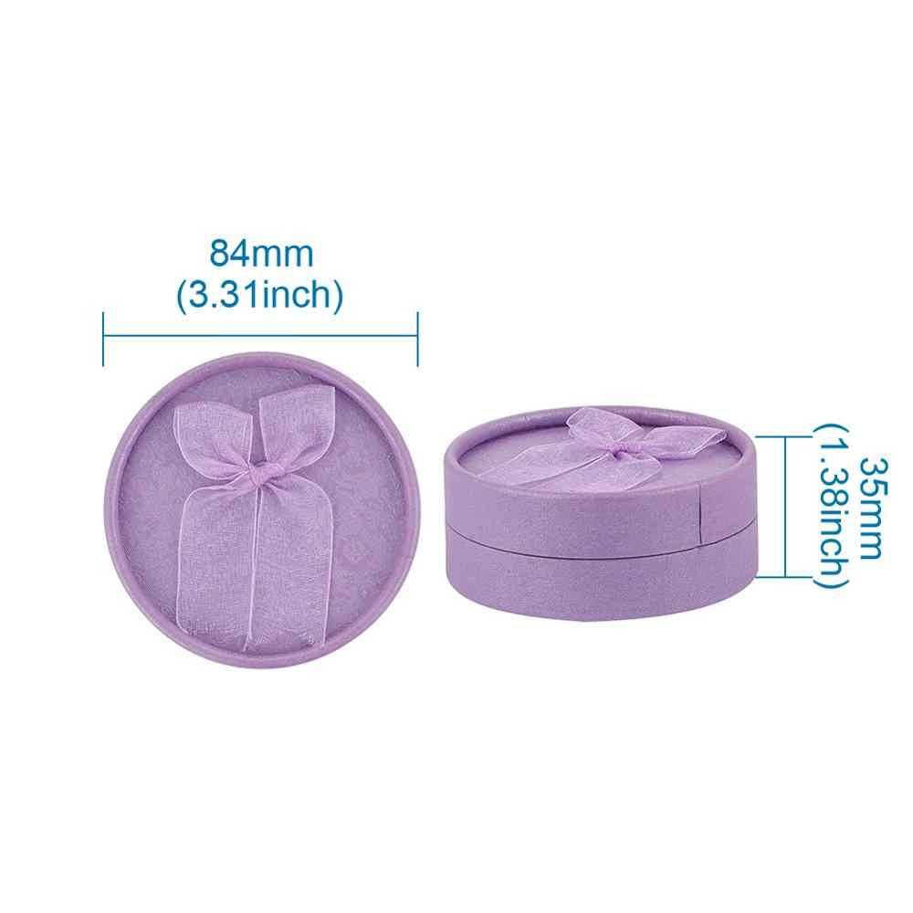 Pandahall 12 pçs papelão pulseira caixas de jóias papel com esponja dentro bowknot fora liso redondo 8.4x3.5cm