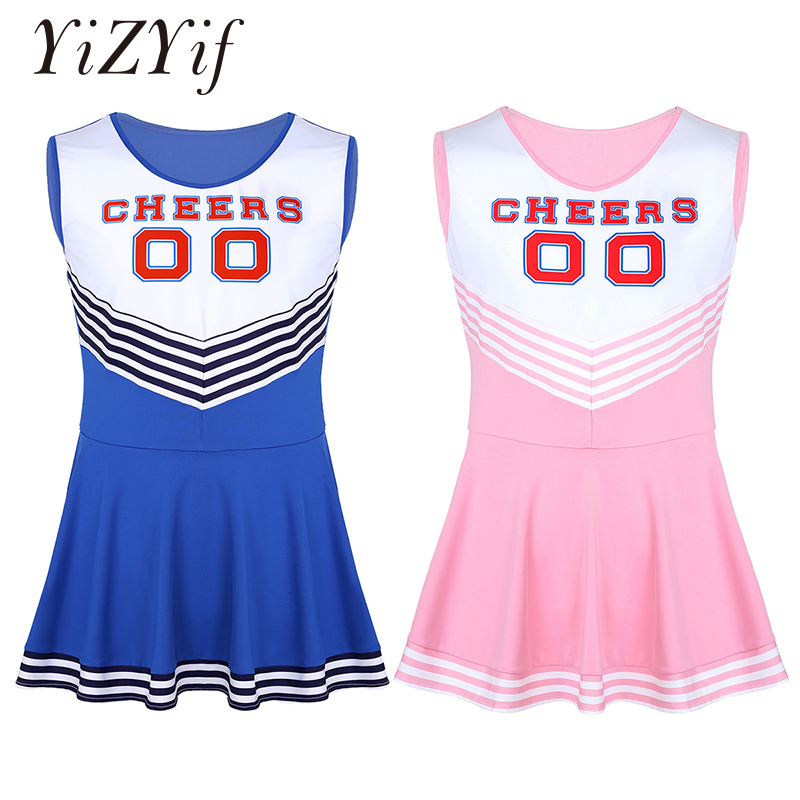 Men Sissy Dress Charming Cheerleader Cosplay Costume Dress Scoop Neck Sleeveless Pleated Fancy Short Dress Cheerleader Dress-in Sexy Costumes from Novelty & Special Use
