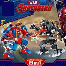 JX60019 Superhero Spiderman Venom 8-in-1 Assembly Battle Mech Puzzle Building Block Toy