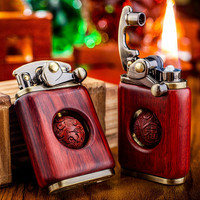 2020 New Rotating Rocker Lighter Men and Women Gifts Pure Copper Rosewood Lighter Grinding Wheel Retro Playable Lucky Turn Beads