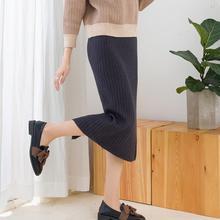 Элегантные миди юбки-карандаш с высокой талией, эластичная лента, вязаная юбка в рубчик, женская зимняя Толстая теплая плиссированная юбка с разрезом