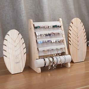 Image 1 - Wooden Jewellery Organizer Rack Hook Earrings Holder Hanger Necklace Watch Bracelet Stand Display Storage