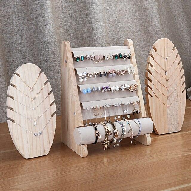 Wooden Jewellery Organizer Rack Hook Earrings Holder Hanger Necklace Watch Bracelet Stand Display Storage