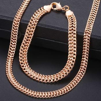 Men Women's Jewelry Set 585 Rose Gold Bracelet Necklace Set Double Curb Cuban Weaving Bismark Chain 2018 Wholesale Jewelry KCS04 1