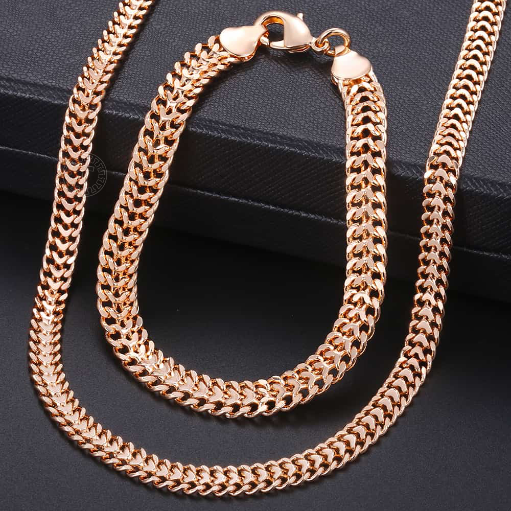 Men Women's Jewelry Set 585 Rose Gold Bracelet Necklace Set Double Curb Cuban Weaving Bismark Chain 2018 Wholesale Jewelry KCS04